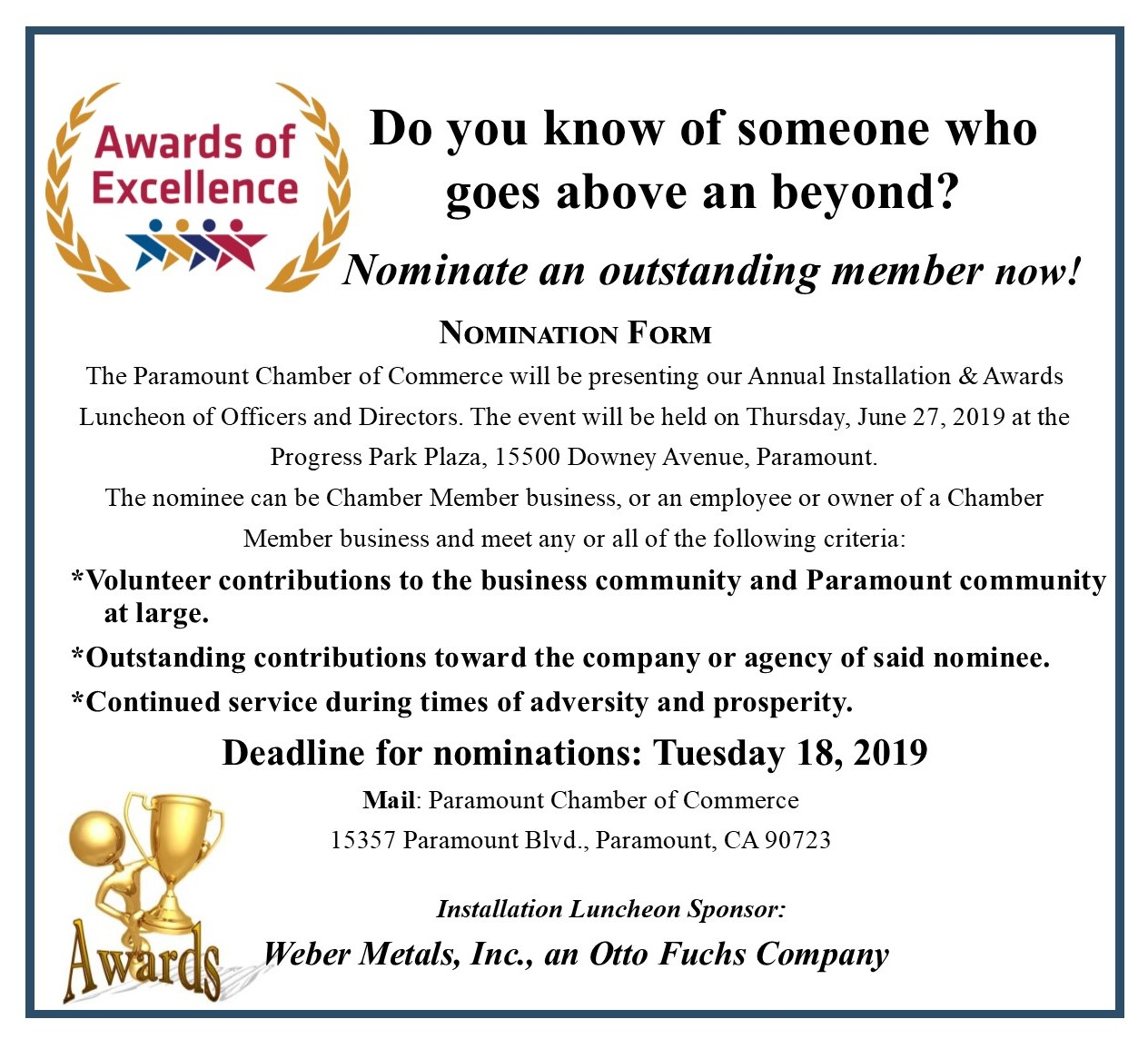 Award Of Excellience Nomination Form 2019