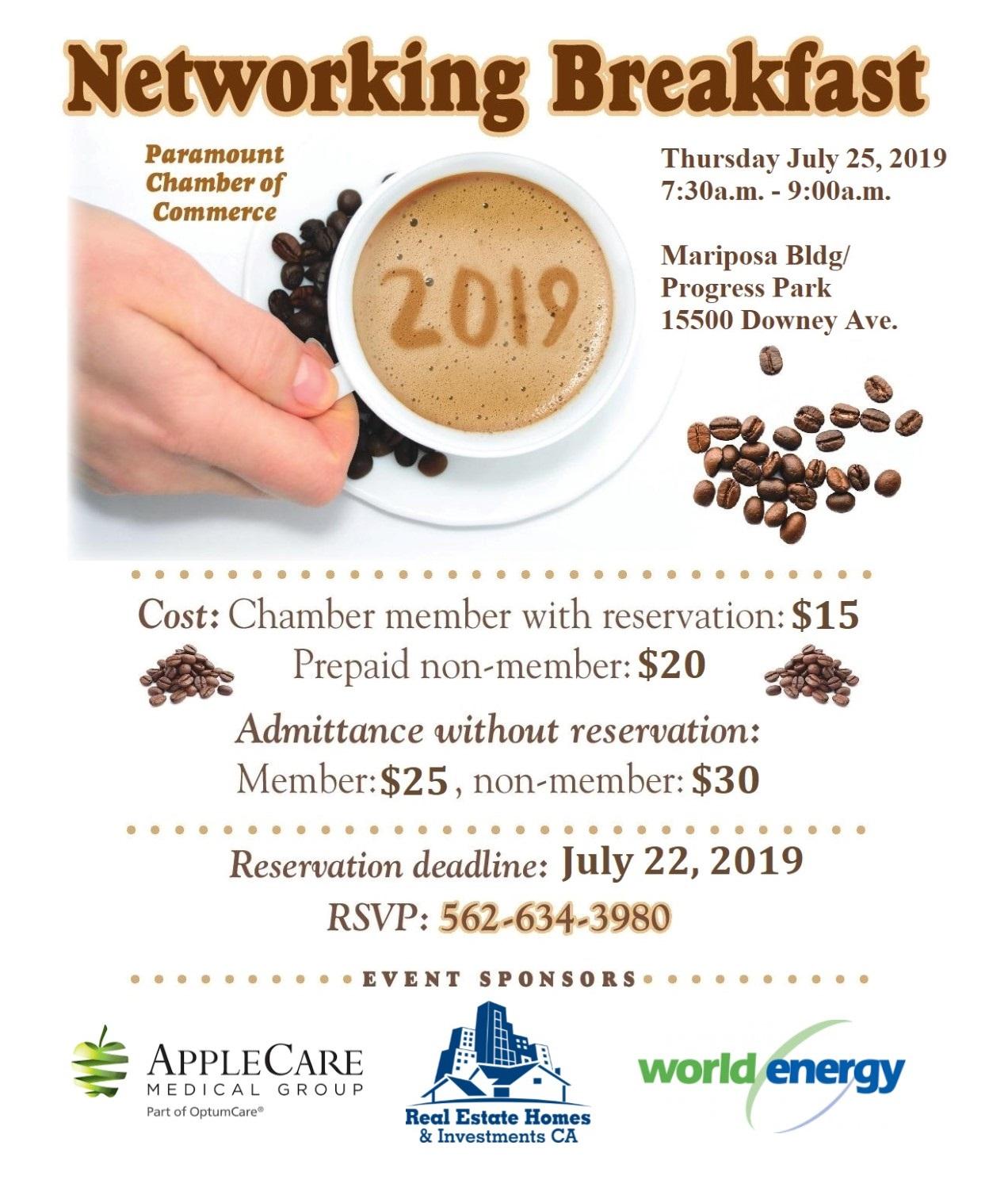 July Network Breakfast with sponsors